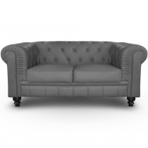 "Canapé 2 Places ""Chesterfield"" 157cm Gris"
