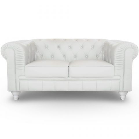 "Canapé 2 Places ""Chesterfield"" 157cm Blanc"