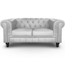 "Canapé 2 Places ""Chesterfield"" 157cm Argent"
