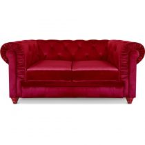 "Canapé 2 Places Velours ""Chesterfield"" 157cm Rouge"