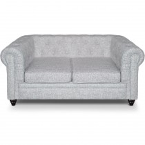 "Canapé 2 Places Lin ""Chesterfield"" 157cm Gris Clair"