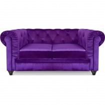 "Canapé 2 Places Velours ""Chesterfield"" 157cm Violet"