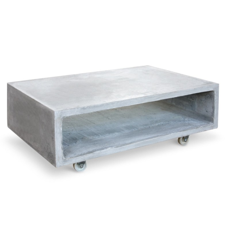 table basse effet b ton tambourin 130cm gris beige. Black Bedroom Furniture Sets. Home Design Ideas