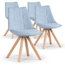 "Lot de 4 Chaises Design ""Blake"" 82cm Bleu"