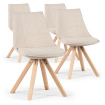 "Lot de 4 Chaises Design ""Blake"" 82cm Beige"