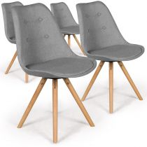 "Lot de 4 Chaises Design ""India"" 82cm Gris"