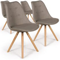 "Lot de 4 Chaises Design ""India"" 82cm Beige"