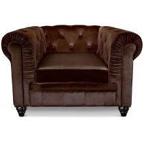 "Fauteuil Design Velours ""Chesterfield"" 110cm Marron"
