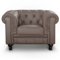 "Fauteuil Design ""Chesterfield"" 110cm Taupe"