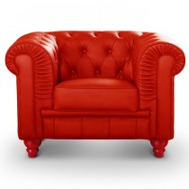 "Fauteuil Design ""Chesterfield"" 110cm Rouge"