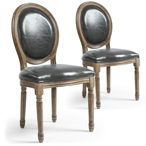 Lot de 2 Chaises Médaillon Similicuir \