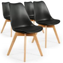 "Lot de 4 Chaises Design ""Flaubert"" 82cm Noir"