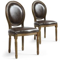 "Lot de 2 Chaises Médaillon Similicuir ""Versailles"" 96cm Marron & Or"