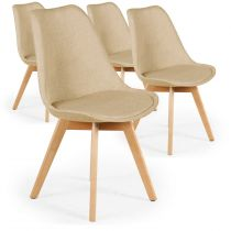 "Lot de 4 Chaises Design ""Wellington"" 79cm Beige"