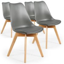 "Lot de 4 Chaises Design Simili ""Wellington"" 79cm Gris"