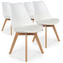 "Lot de 4 Chaises Design Simili ""Wellington"" 79cm Blanc"
