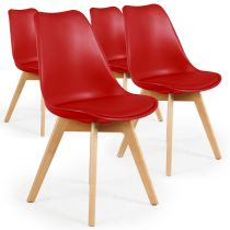 "Lot de 4 Chaises Design Simili ""Wellington"" 79cm Rouge"