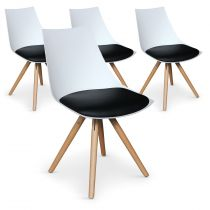 "Lot de 4 Chaises Design ""Medalo"" 79cm Blanc & Noir"