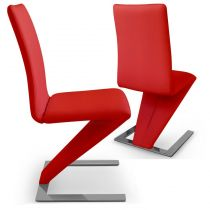 "Lot de 2 Chaises Design ""Twizy"" 93cm Rouge"