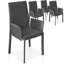 "Lot de 4 Chaises Design ""Quatuor"" 101cm Gris"