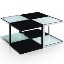 "Table Basse Carré ""Checkmate"" 80cm Noir & Blanc"