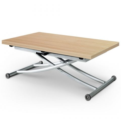 "Table Basse Relevable ""Higher"" 57-114cm Chêne Clair"