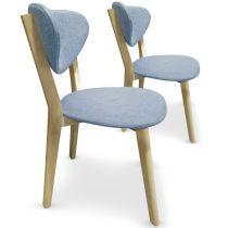 "Lot de 2 Chaises Scandinaves ""Alexandrie"" 79cm Bleu"