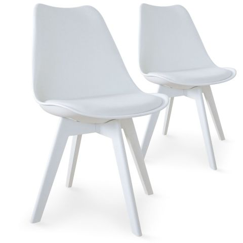"Lot de 2 Chaises Design ""Maélia"" 82cm Blanc"