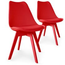 "Lot de 2 Chaises Design ""Maélia"" 82cm Rouge"
