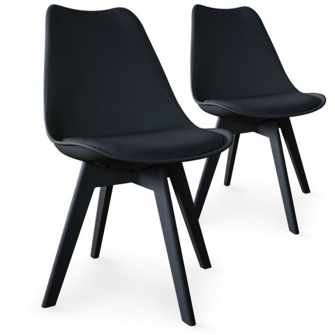 "Lot de 2 Chaises Design ""Maélia"" 82cm Noir"