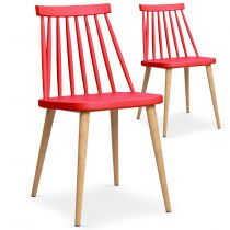 "Lot de 2 Chaises Scandinave ""Beaune"" 77cm Rouge"