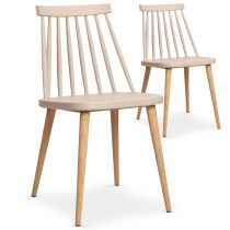 "Lot de 2 Chaises Scandinave ""Beaune"" 77cm Beige"