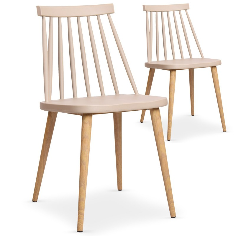 lot de 2 chaises scandinave beaune 77cm beige. Black Bedroom Furniture Sets. Home Design Ideas