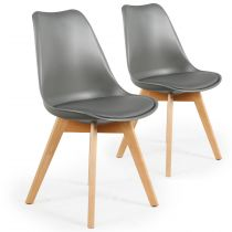 "Lot de 2 Chaises Design ""Flaubert"" 82cm Gris"
