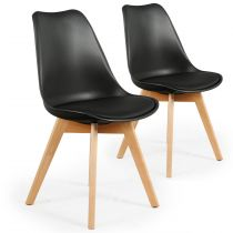 "Lot de 2 Chaises Design ""Flaubert"" 82cm Noir"
