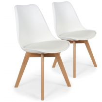 "Lot de 2 Chaises Design ""Flaubert"" 82cm Blanc"