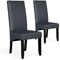 "Lot de 2 Chaises Design Similicuir ""Lille"" 108cm Gris"