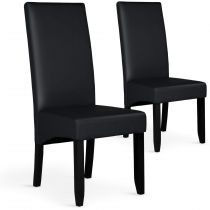 "Lot de 2 Chaises Design Similicuir ""Lille"" 108cm Noir"