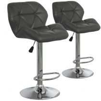 "Lot de 2 Chaises de Bar ""Pranzi"" 110cm Gris"