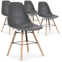 "Lot de 4 Chaises Scandinave ""Célia"" 82cm Gris"