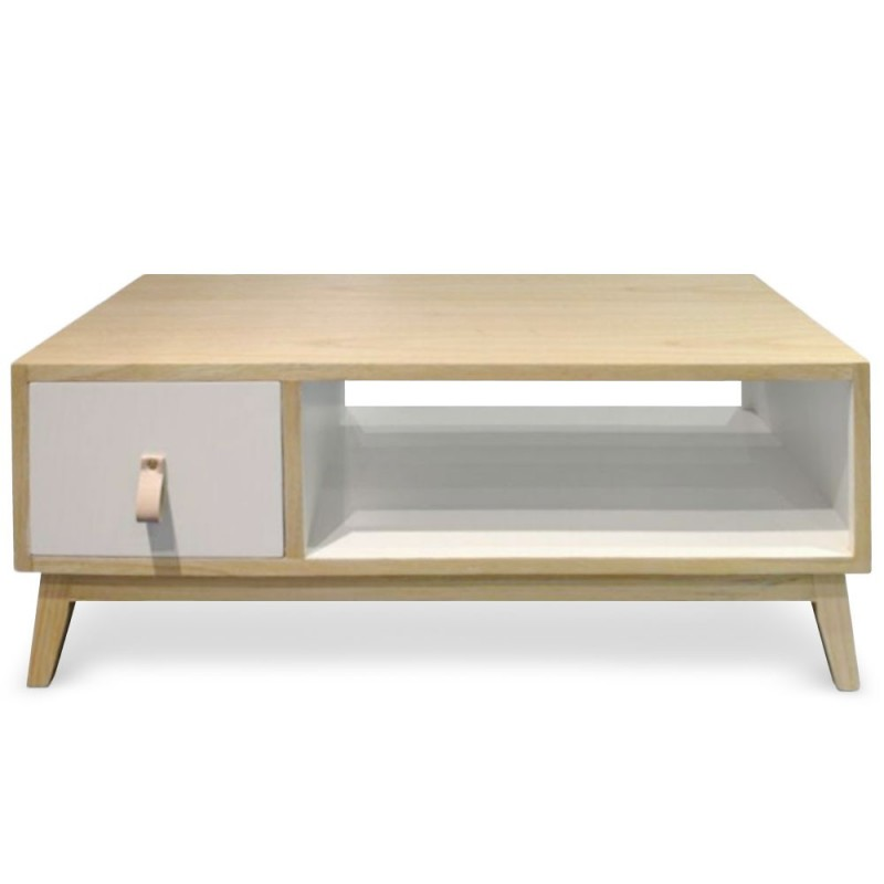 Table basse avec tiroir scandinave fuji 80cm blanc - Table de salon style scandinave ...