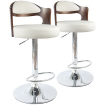 "Lot de 2 Chaises de Bar ""David"" 110cm Noisette & Blanc"