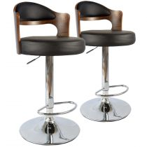 "Lot de 2 Chaises de Bar ""David"" 110cm Noisette & Noir"