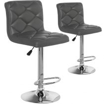 "Lot de 2 Chaises de Bar ""Emilio"" 109cm Gris"