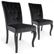 "Lot de 2 Chaises Design Velours ""Lucky"" 106cm Noir"