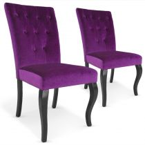 "Lot de 2 Chaises Design Velours ""Lucky"" 106cm Violet"