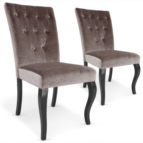 "Lot de 2 Chaises Design Velours ""Lucky"" 106cm Taupe"