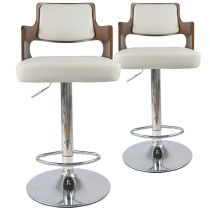 "Lot de 2 Chaises de Bar ""Paddington"" 110cm Noisette & Blanc"