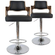 "Lot de 2 Chaises de Bar ""Paddington"" 110cm Noisette & Noir"