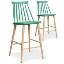 "Lot de 2 Chaises de Bar ""Beaune"" 97cm Vert"